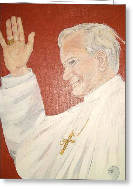 Portraits Of The Pope Greeting Cards - Pope JohnPaul II Greeting Card by Desline Vitto