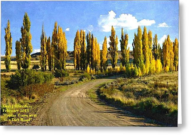 Commercial Photography Paintings Greeting Cards - Poplar Trees Next to Dirt Road H a Greeting Card by Gert J Rheeders