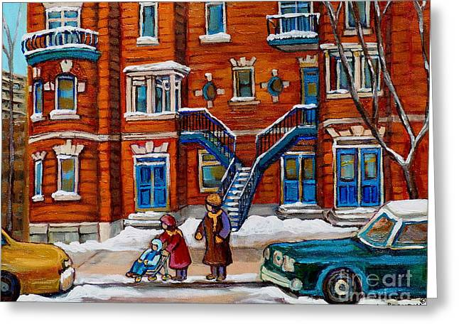 Recently Sold -  - The Plateaus Greeting Cards - Poplinger Building Montreal Winter Scene Greeting Card by Carole Spandau