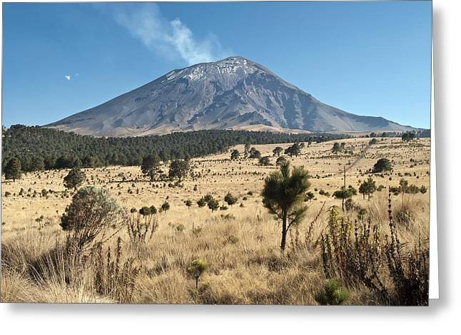 Vulcanology Greeting Cards - Popocatepetl volcano, Mexico Greeting Card by Science Photo Library
