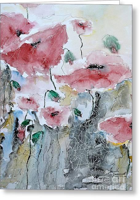 Ismeta Greeting Cards - Poppies 01 Greeting Card by Ismeta Gruenwald