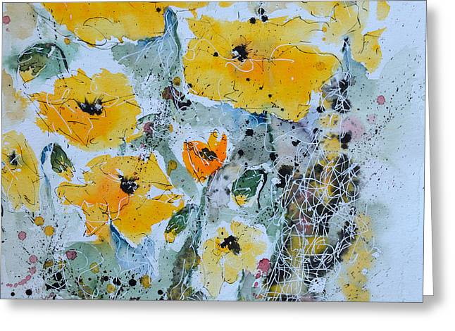 Ismeta Paintings Greeting Cards - Poppies 02 Greeting Card by Ismeta Gruenwald
