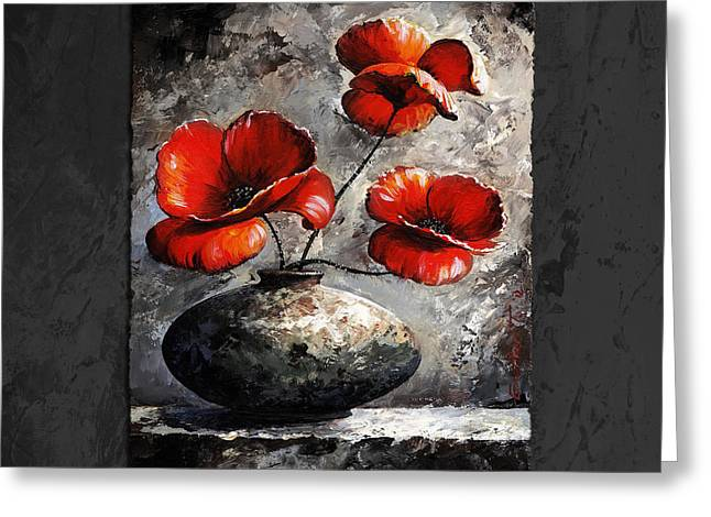 Large Digital Greeting Cards - Poppies 02 - Style Black White and Red Greeting Card by Emerico Imre Toth