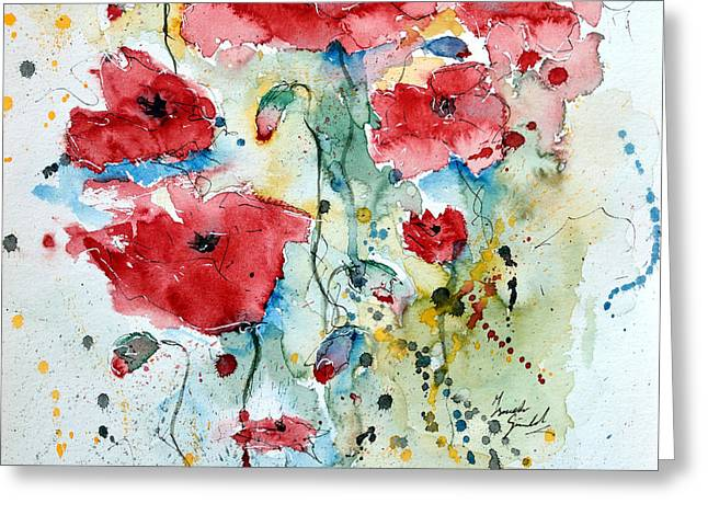 Ismeta Paintings Greeting Cards - Poppies 04 Greeting Card by Ismeta Gruenwald