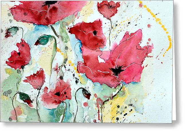 Gruenwald Greeting Cards - Poppies 05 Greeting Card by Ismeta Gruenwald