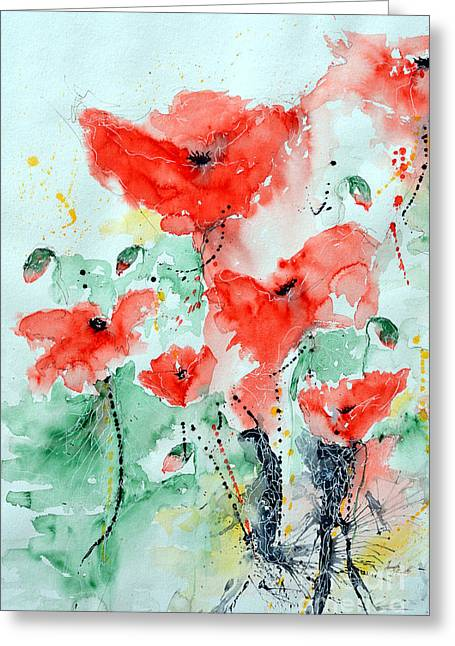 Ismeta Paintings Greeting Cards - Poppies 06 Greeting Card by Ismeta Gruenwald