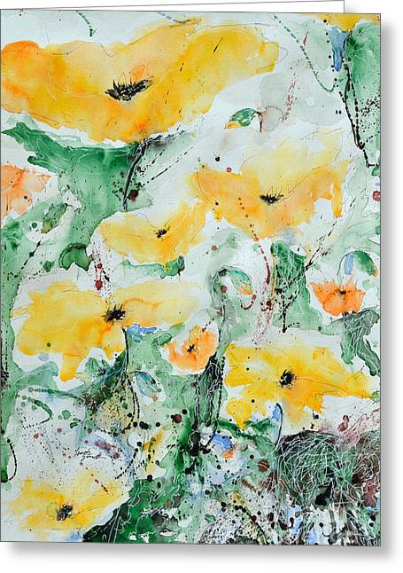 Ismeta Paintings Greeting Cards - Poppies 07 Greeting Card by Ismeta Gruenwald