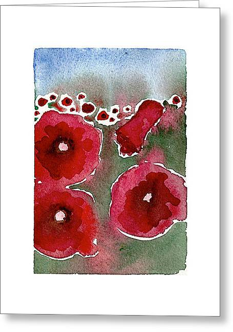 World War One Paintings Greeting Cards - Poppies 100 Greeting Card by Meagan Healy