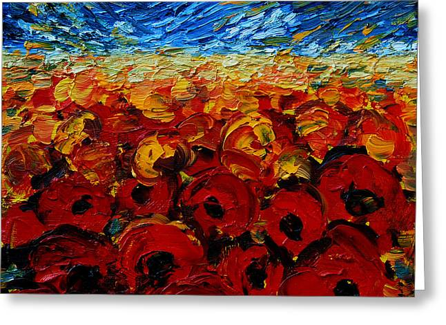 Fauvism Greeting Cards - Poppies 2 Greeting Card by Mona Edulesco