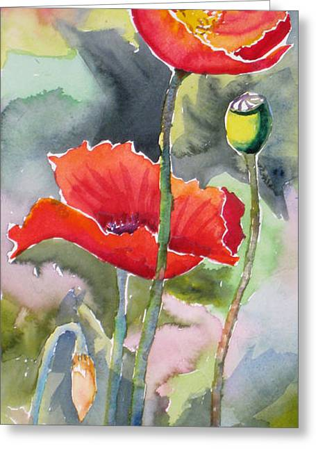 Fineartamerica Greeting Cards - Poppies 3 Greeting Card by Mohamed Hirji
