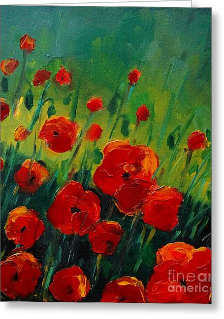 Chromatic Paintings Greeting Cards - Poppies 4 Greeting Card by Mona Edulesco