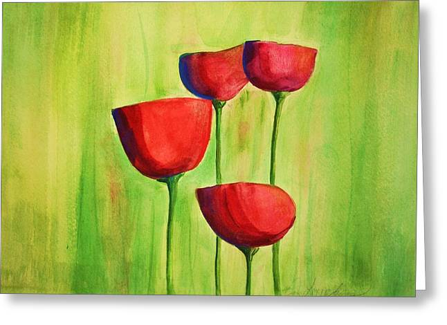 Red Photographs Paintings Greeting Cards - Poppies 4 Greeting Card by Julie Lueders