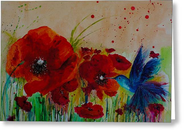 Pink Blossoms Drawings Greeting Cards - Poppies and a Blue bird Greeting Card by Isabel Salvador