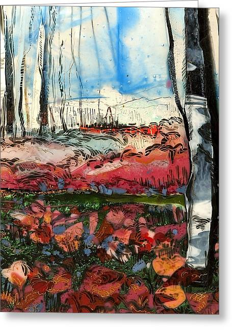 Glass Art Greeting Cards - Poppies and Birch Greeting Card by Alice Benvie Gebhart
