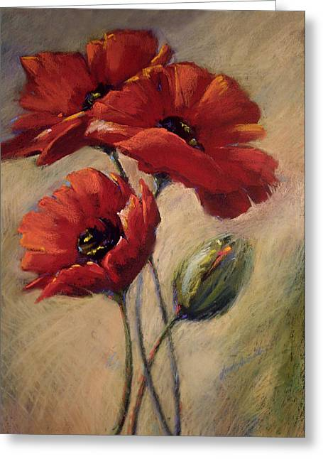 Linda Smith Greeting Cards - Poppies and Bud Greeting Card by Linda Smith