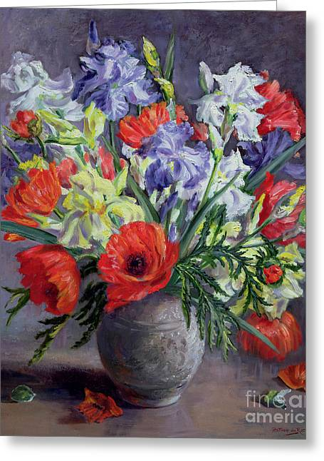 Close Up Paintings Greeting Cards - Poppies and Irises Greeting Card by Anthea Durose
