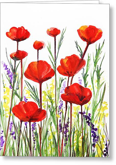 Poppies Field Paintings Greeting Cards - Poppies and Lavender  Greeting Card by Irina Sztukowski