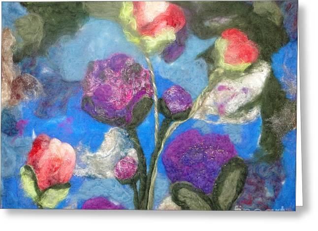 Whimsical Tapestries - Textiles Greeting Cards - Poppies and Peonies Greeting Card by Shakti Chionis