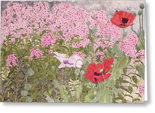 Bee Greeting Cards - Poppies And Phlox Greeting Card by Linda Benton