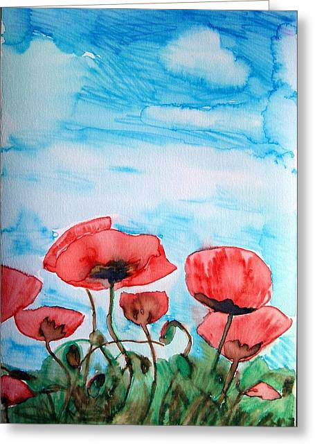 Tara Thelen Greeting Cards - Poppies and Sky Greeting Card by Tara Thelen