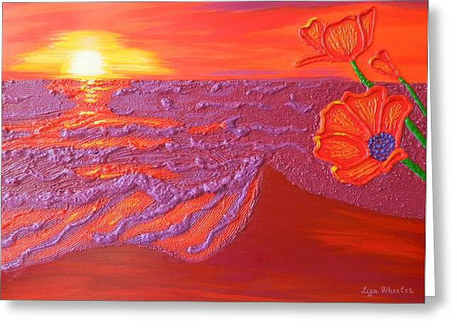 Contemporary Reliefs Greeting Cards - Poppies at Dawn Greeting Card by Liza Wheeler