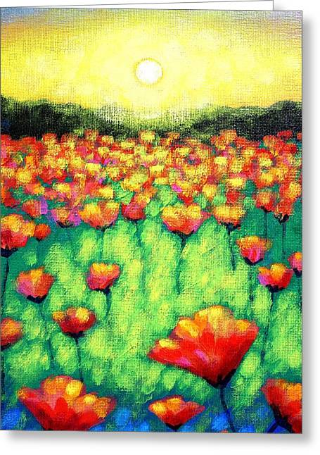 Acrylic Greeting Cards - Poppies At Twilight    cropped version Greeting Card by John  Nolan