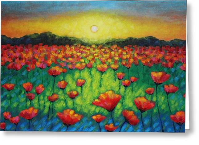 Acrylic. Green Greeting Cards - Poppies At Twilight Greeting Card by John  Nolan