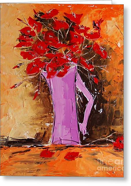 Red Cat Wine Greeting Cards - Poppies Greeting Card by Atelier De  Jiel