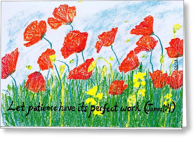 Bible Pastels Greeting Cards - Poppies Greeting Card by Catherine Saldana