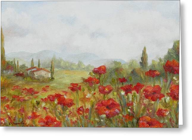 Tuscan Hills Greeting Cards - Poppies Greeting Card by Chris Brandley