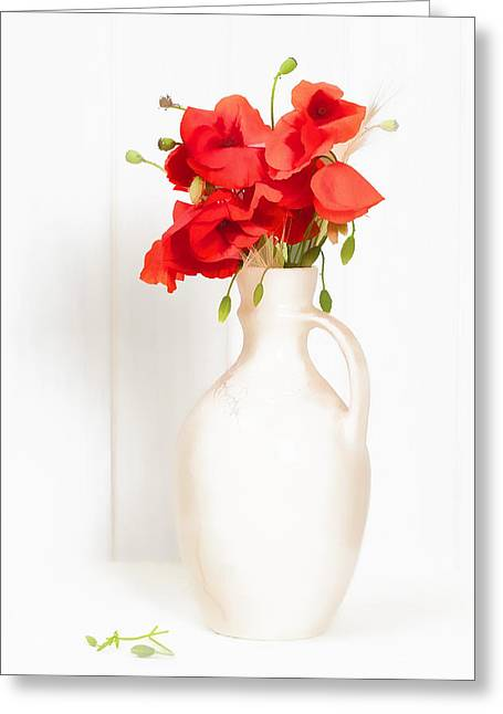 Table White Greeting Cards - Poppies Greeting Card by Amanda And Christopher Elwell