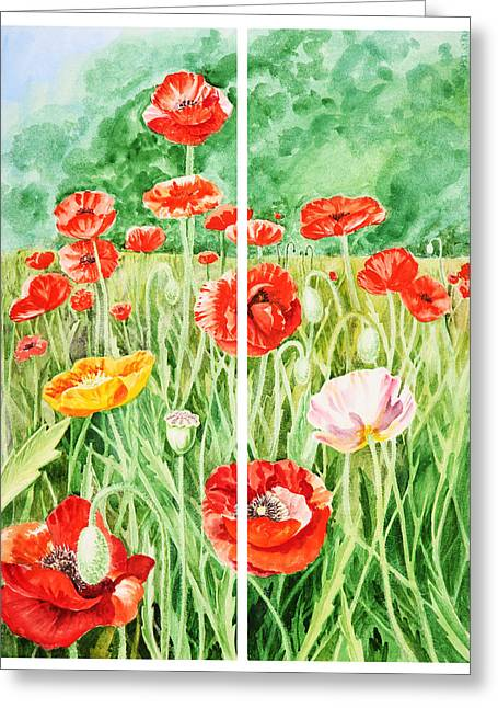 Poppies Field Paintings Greeting Cards - Poppies Collage I Greeting Card by Irina Sztukowski