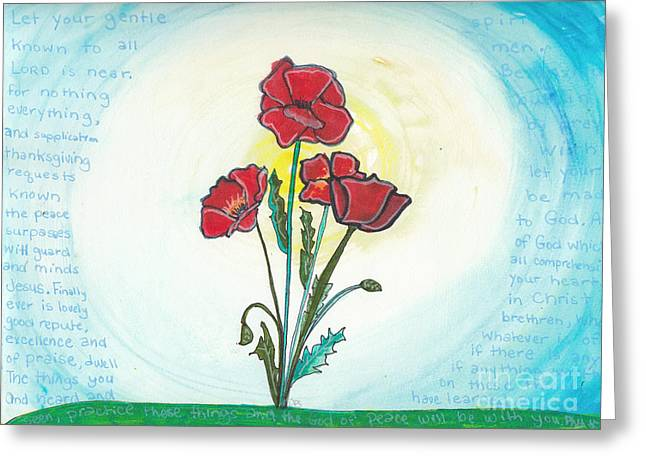 Bible Mixed Media Greeting Cards - Poppies Greeting Card by Dana Sorrell