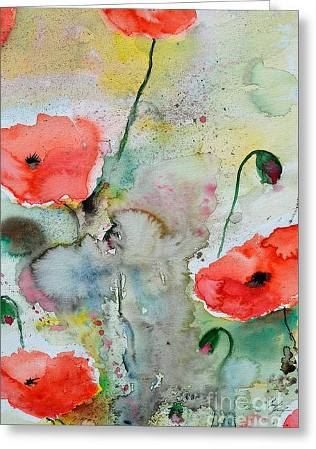 Ismeta Paintings Greeting Cards - Poppies - Flower Painting Greeting Card by Ismeta Gruenwald
