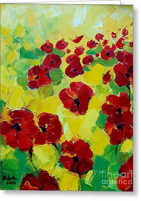 Poppies I Greeting Card by Mona Edulesco