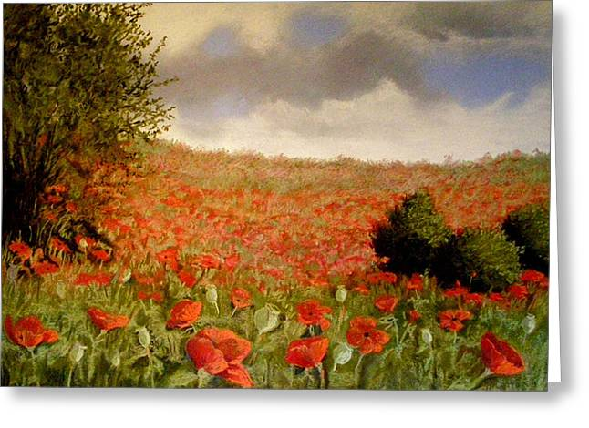 Oregon Pastels Greeting Cards - Poppies I Greeting Card by Rosemarie Caffarelli