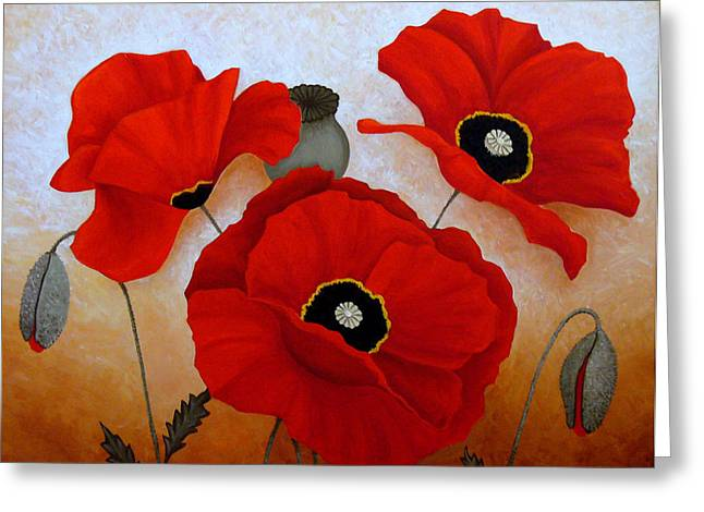 Print On Acrylic Drawings Greeting Cards - Poppies Ii Greeting Card by Deyana Deco