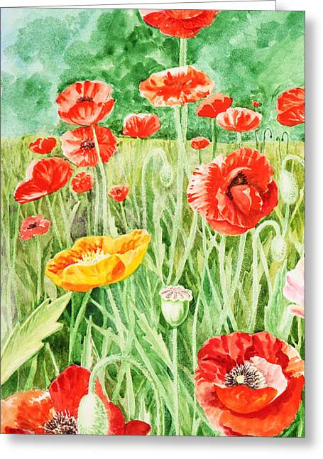 Poppies Field Paintings Greeting Cards - Poppies Impressions II Greeting Card by Irina Sztukowski