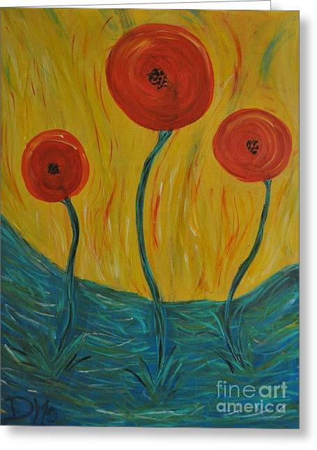 Abstract California Poppies Greeting Cards - Poppies in Blue Grass at Sunset Greeting Card by Dara Morgan