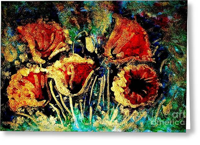 Poppies In Gold Greeting Card by Zaira Dzhaubaeva