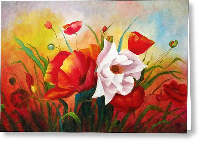 A Sunny Morning Greeting Cards - Poppies In My Garden Greeting Card by Georgiana Romanovna