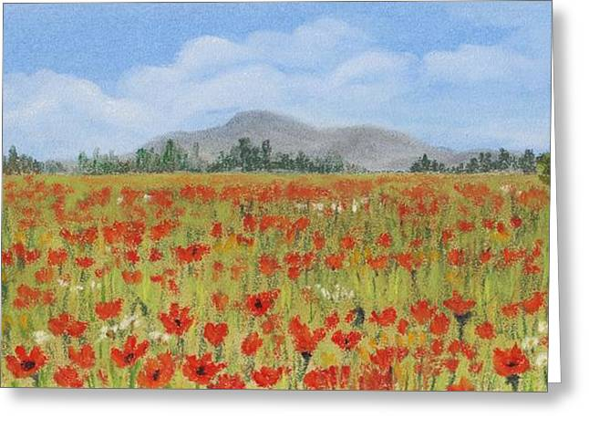 Rural Landscapes Pastels Greeting Cards - Poppies in Provence  Greeting Card by Anastasiya Malakhova
