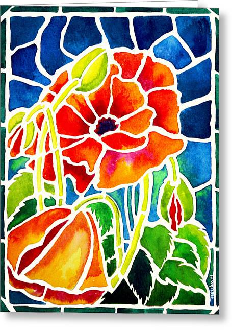 Poppies In Stained Glass Greeting Card by Janis Grau