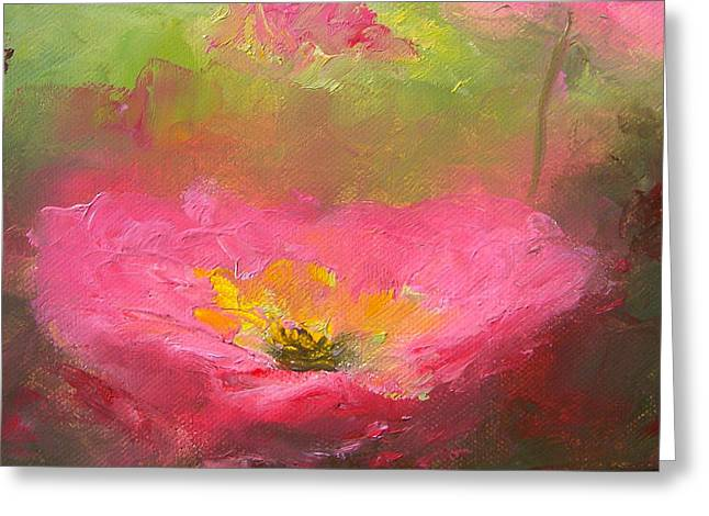 Deep Pink Greeting Cards - Poppies in the Garden Greeting Card by Jan Matson