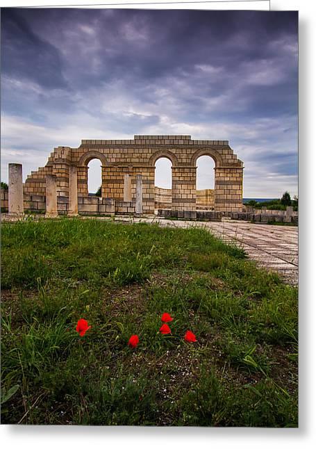 Medieval Temple Digital Greeting Cards - Poppies in the ruins Greeting Card by Eti Reid