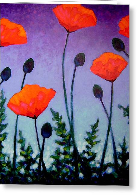 Homage Greeting Cards - Poppies In The Sky II Greeting Card by John  Nolan
