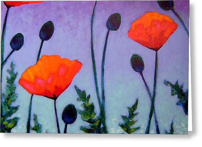 Poppies In The Sky II Greeting Card by John  Nolan