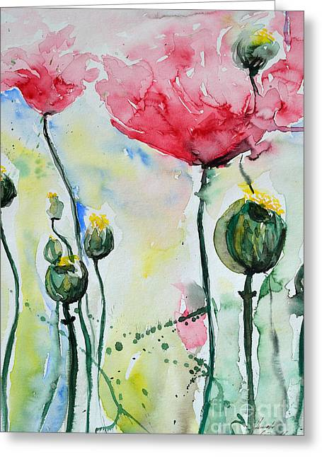Gruenwald Greeting Cards - Poppies Greeting Card by Ismeta Gruenwald