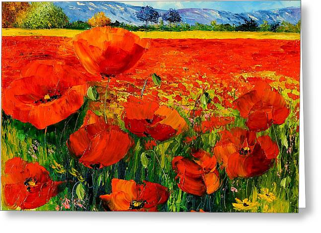 Rustic Digital Greeting Cards - Poppies Greeting Card by Jean-Marc Janiaczyk