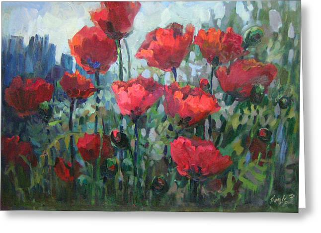 Modern Russian Art Greeting Cards - Poppies Greeting Card by Juliya Zhukova